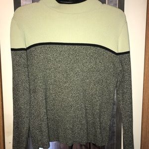 Grey and light green sweater
